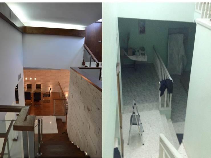 CASA LOMAS DEL SANTUARIO: Pasillos y recibidores de estilo  por bouchez arquitectos