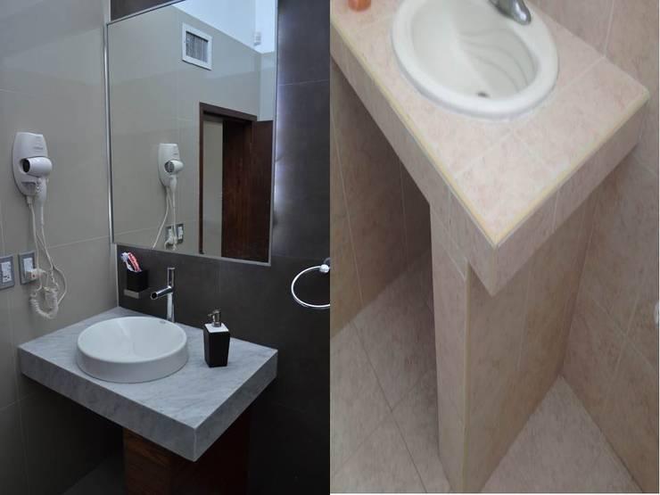 CASA LOMAS DEL SANTUARIO: Baños de estilo  por bouchez arquitectos