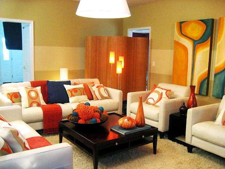 Simple and Colorful Living Room Decor...: modern  by Spacio Collections,Modern Textile Amber/Gold