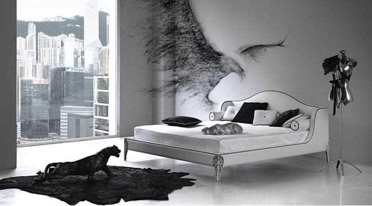 Stunning Black Bedroom Space:  Bedroom by Spacio Collections,