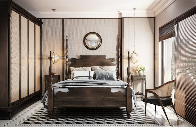 Colonial style – Tropic garden apartment:  Phòng ngủ by V Design Studio