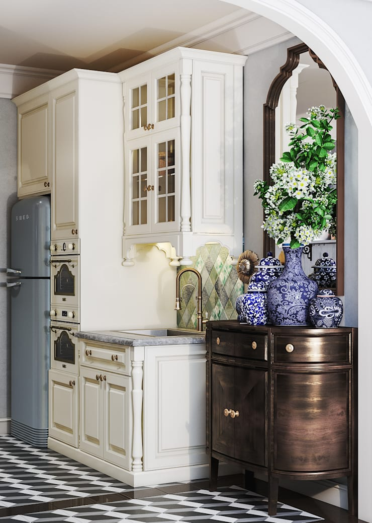 Colonial style – Tropic garden apartment:  Nhà bếp by V Design Studio