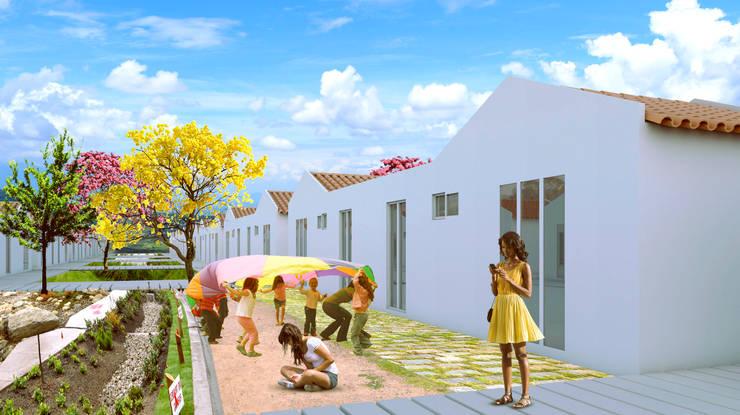 Patios traseros: Casas ecológicas de estilo  por Variable