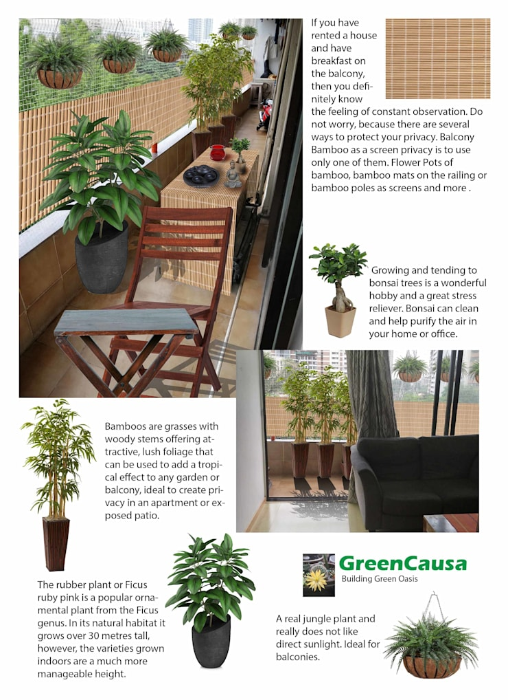 Balcony Makeover:  Interior landscaping by GreenCausa