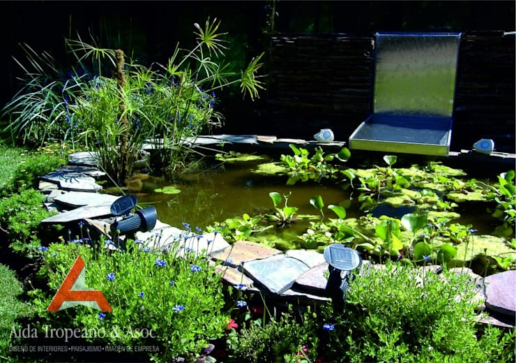 Fuente con Plantas Acuáticas: Jardines de estilo  por Aida Tropeano & Asoc.,