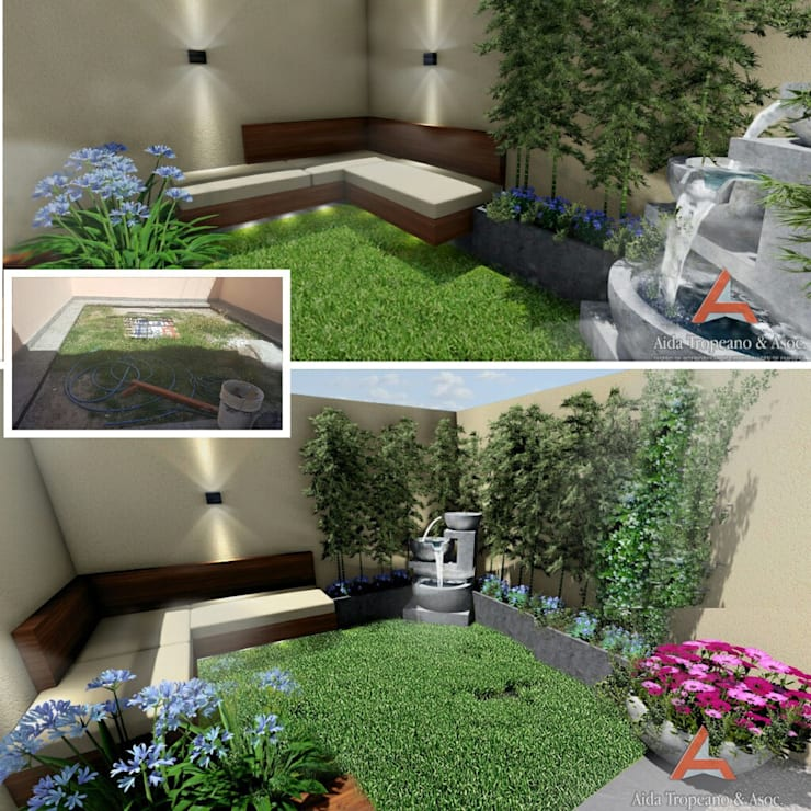 Jardín Pequeño, jardines grandes, flores, proyecto, : Jardines de estilo  por Aida Tropeano & Asoc.,