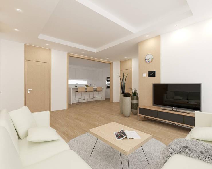 리모델링 주택 1F 거실디자인: 디자인 이업의  거실