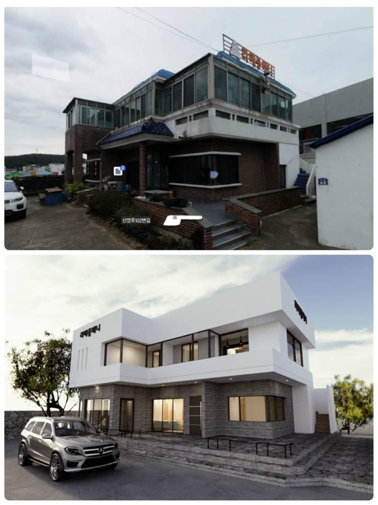 리모델링 디자인과 기존주택 비교: 디자인 이업의  전원 주택