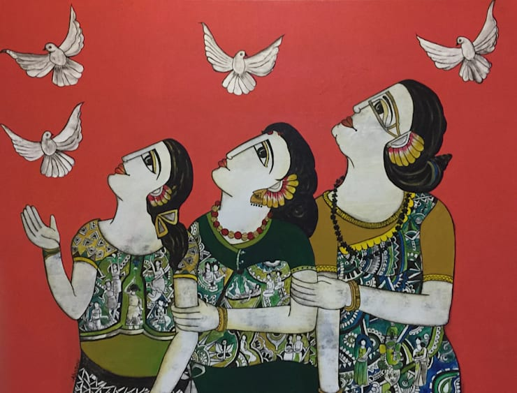 Three generation together:  Artwork by Indian Art Ideas,