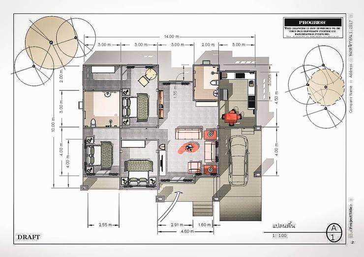 走廊 & 玄關 by แบบบ้านออกแบบบ้านเชียงใหม่
