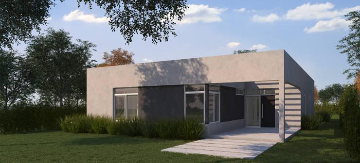 Render fachada (prueba de color): Casas de estilo  por KorteSa arquitectura,