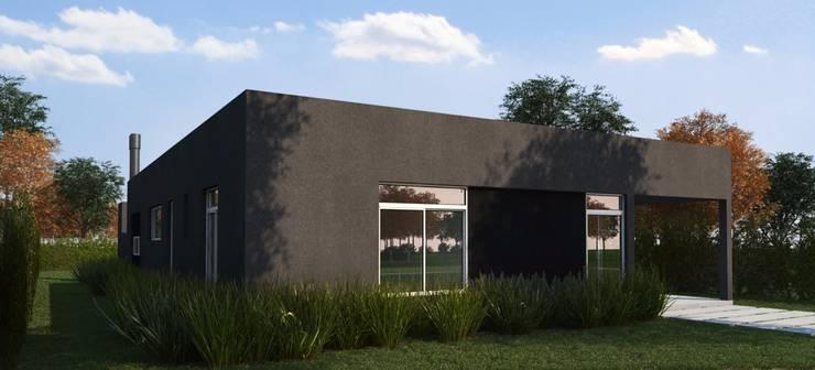 Render fachada (retiro lateral): Casas de estilo  por KorteSa arquitectura,