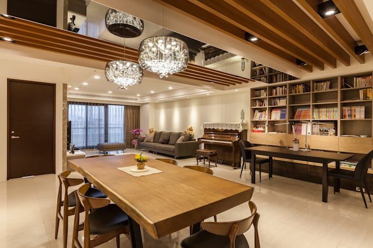 質潤。自在鏡謐好宅:  餐廳 by 好室佳室內設計