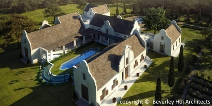 Cape Dutch Style Hotel  -  Franschhoek:  Country house by Beverley Hui Architects, Country Bricks