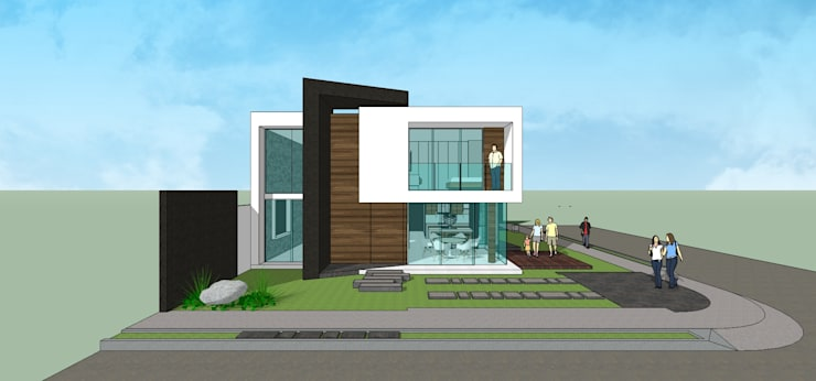 Fachada Principal: Casas unifamiliares de estilo  por MARATEA Estudio