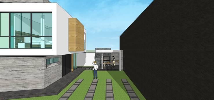 Fachada posterior + Parrillera: Casas unifamiliares de estilo  por MARATEA Estudio