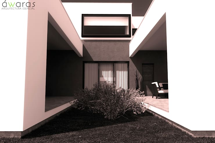 CASA LC | PATIO INTERNO: Casas unifamiliares de estilo  por áwaras arquitectos