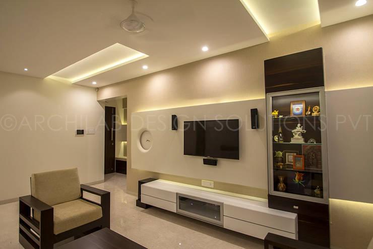 1500 Sft Residence at Rohan Kritika, Sinhagad Road, Pune :  Living room by Archilab Design Solutions Pvt.Ltd.