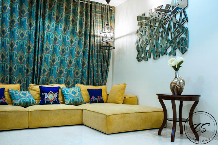 Goel's, Aanandam World City, Raipur:  Living room by ES Designs