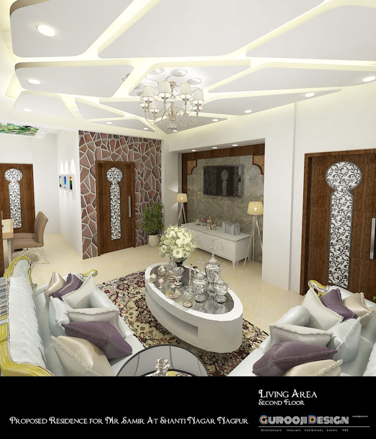 asian Living room by Gurooji Design