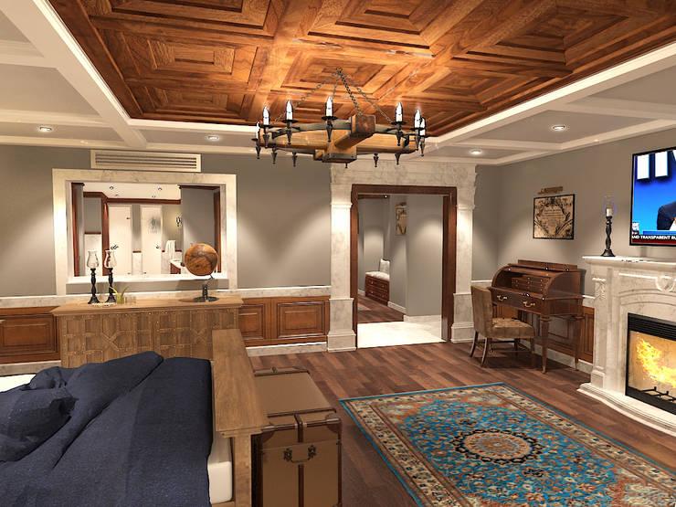 جناح نوم في بيت ريفي بالولايات المتحدة الامريكية :  غرفة نوم تنفيذ Quattro designs , ريفي