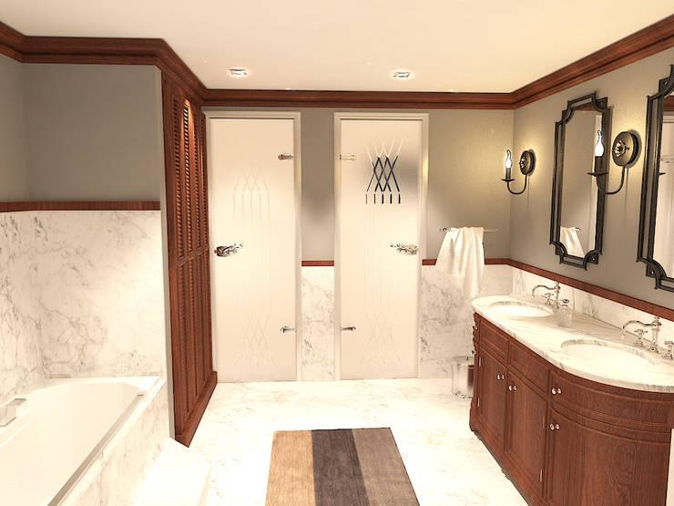 جناح نوم في بيت ريفي بالولايات المتحدة الامريكية :  حمام تنفيذ Quattro designs , ريفي