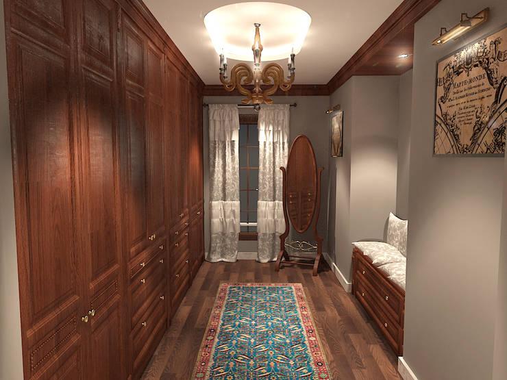 جناح نوم في بيت ريفي بالولايات المتحدة الامريكية :  غرفة الملابس تنفيذ Quattro designs , ريفي