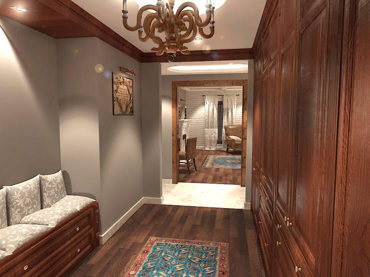 جناح نوم في بيت ريفي بالولايات المتحدة الامريكية :  غرفة الملابس تنفيذ Quattro designs