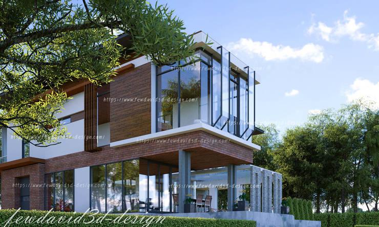 บ้านพักอาศัย 2ชั้น คุณ วีรยุทธฯ อ.แก่งกระจาน จ.เพชรบุรี:  บ้านเดี่ยว by fewdavid3d-design