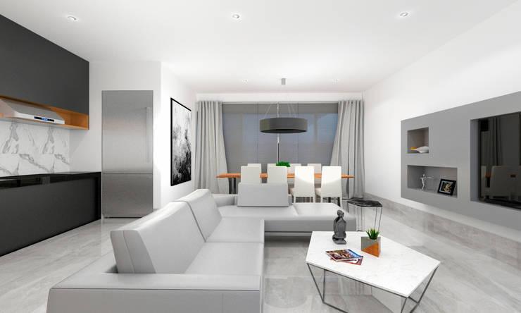 CASA DE VISITAS: Salas de estilo minimalista por SEZIONE