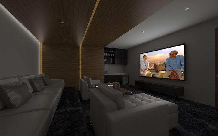 SALA DE CINE: Salas multimedia de estilo minimalista por SEZIONE