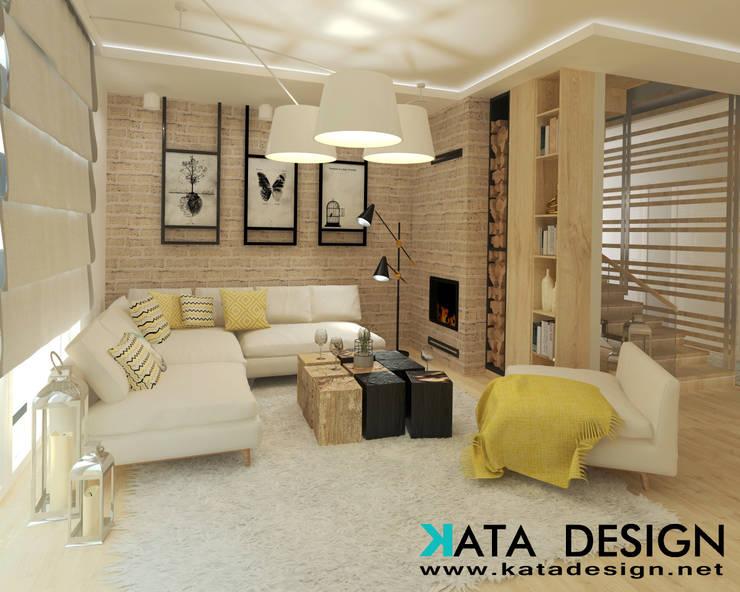 Salas / recibidores de estilo  por Kata Design, Moderno Ladrillos