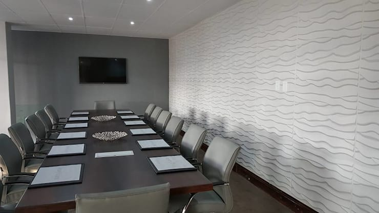 การตกแต่งผนังออฟฟิส สำนักงานด้วยแผ่นผนัง 3d boardโทนสีสบายตาอย่างสีขาว:   by World Excellent Intertrade