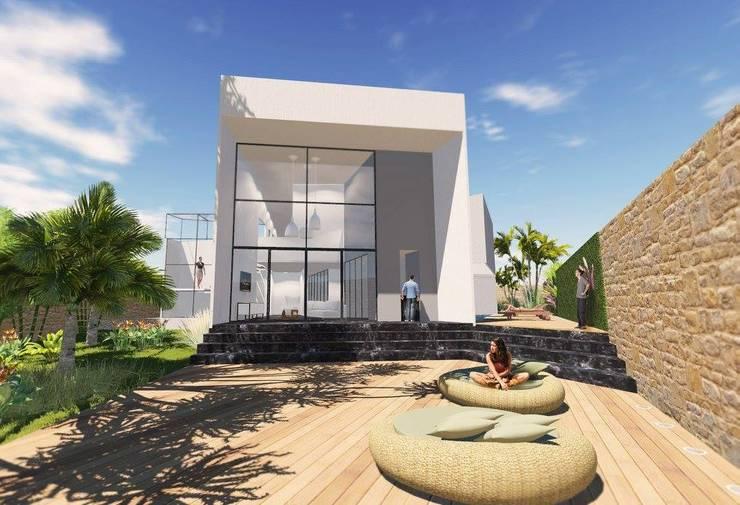 Front yard by ArqClub - Studio de Arquitetura, Modern Wood Wood effect