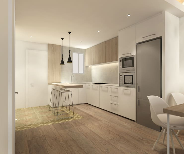 REFORMA VIVIENDA EU BARCELONA: Cocinas de estilo minimalista de inzinkdesign