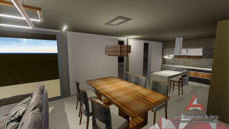 Living integrado a Cocina: Cocinas de estilo  por Aida Tropeano & Asoc.,