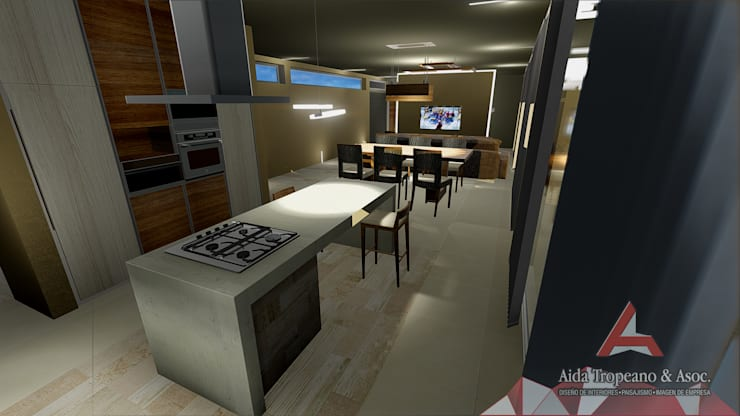 Living integrado a Cocina: Cocinas a medida  de estilo  por Aida Tropeano & Asoc.,