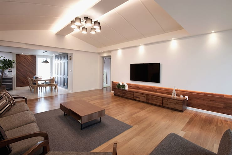 전주인테리어 서신동 대림 이편한세상 아파트 인테리어: 디자인투플라이의  거실,