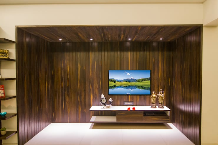 Tv unit- Living Room:  Living room by A Design Studio