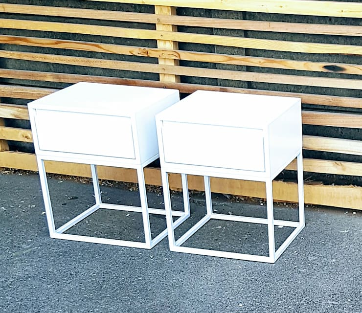 Custom Side Tables with Drawer on Steel Bases: modern  by Eco Furniture Design, Modern Iron/Steel