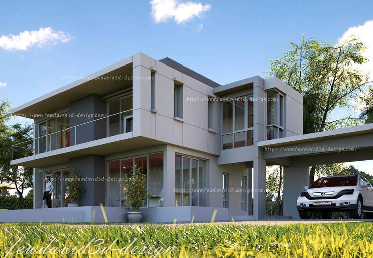 บ้านพักอาศัย 2ชั้น อ.หัวหิน จ.ประจวบคีรีขันธ์:  โรงรถและหลังคากันแดด by fewdavid3d-design