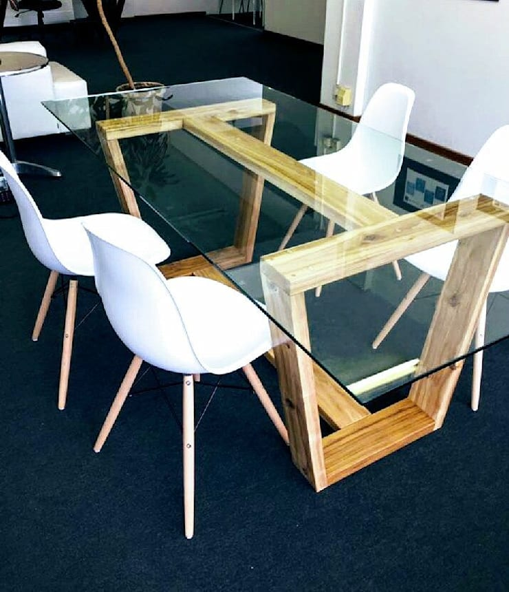 Hayley 10 Seater Dining Table with Glass Top:  Dining room by Eco Furniture Design