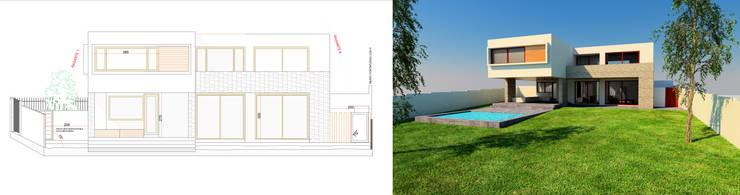 Fachada + Render Proyecto casa BL piedra roja - Chicureo.:  de estilo  por MJO ArqDesign