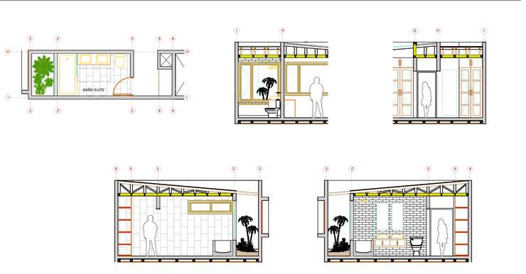 Detalle Baño Suite Proyecto casa BL piedra roja - Chicureo.:  de estilo  por MJO ArqDesign