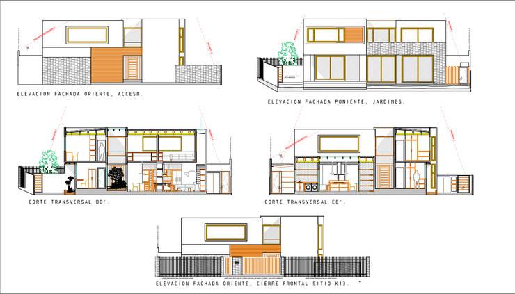 Elevaciones Fachadas y Cortes. Proyecto casa BL piedra roja - Chicureo.:  de estilo  por MJO ArqDesign