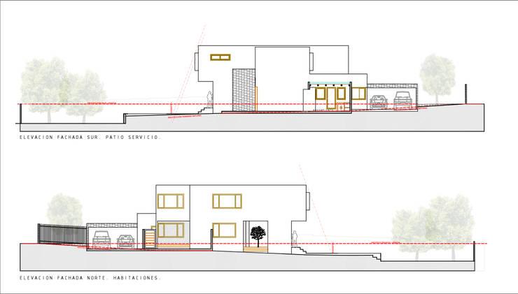 Elevaciones Fachadas longitudinales. Proyecto casa BL piedra roja - Chicureo.:  de estilo  por MJO ArqDesign