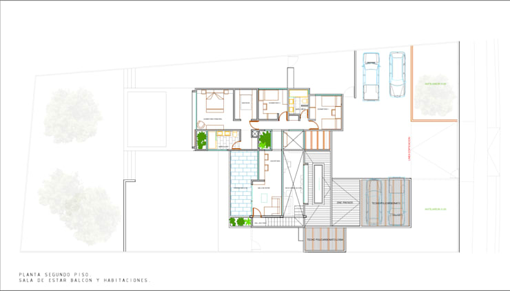 Planta Segundo Piso. Proyecto casa BL piedra roja - Chicureo.:  de estilo  por MJO ArqDesign