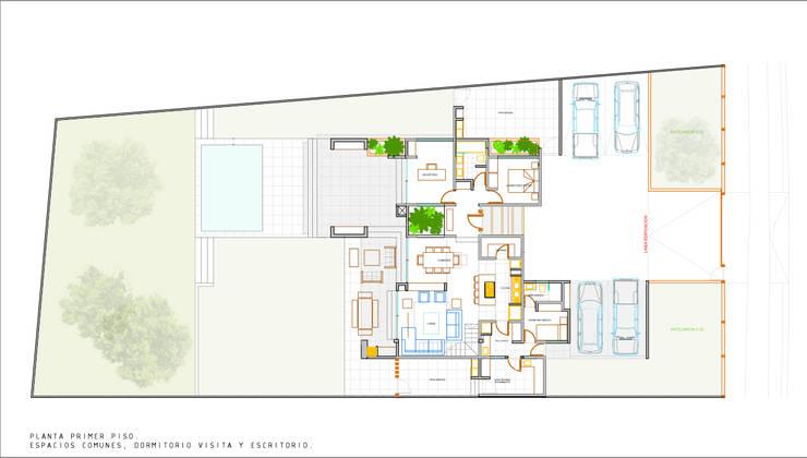 Planta Primer Piso. Proyecto casa BL piedra roja - Chicureo.:  de estilo  por MJO ArqDesign