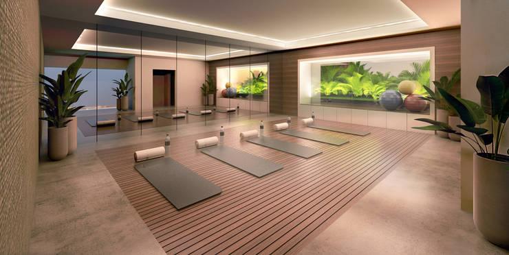 Segundo puesto concurso privado | Inmobiliaria Edifica : Gimnasio de estilo  por Gracia Nano Studio