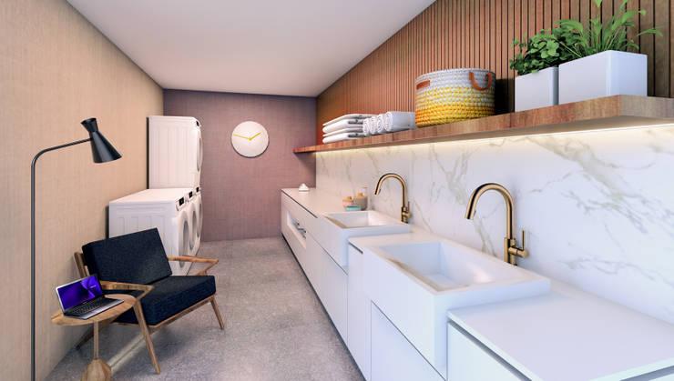 Segundo puesto concurso privado | Inmobiliaria Edifica : Bodegas de estilo  por Gracia Nano Studio